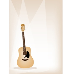 A Beautiful Guitar on Brown Stage Background vector image