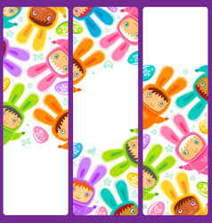 easter banner with egg hunting rabbit children vector image