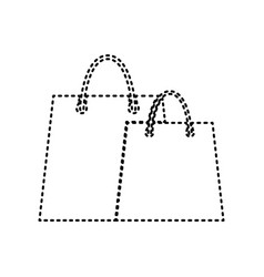 Shopping bags sign black dashed icon on vector