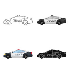 Police car icon in cartoon style isolated on white vector