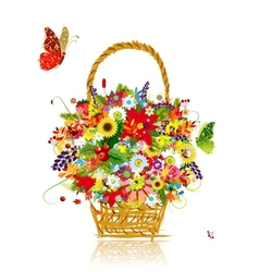 Four seasons basket with leaf and flowers for your vector