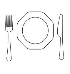Drawing of thin line fork  octagonal plate vector