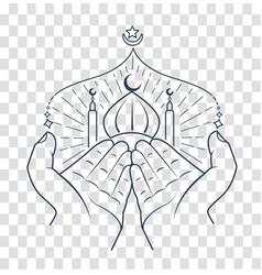 Silhouette of hands praying namaz vector
