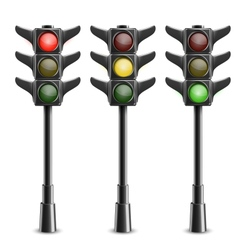 Black traffic lights on pole vector
