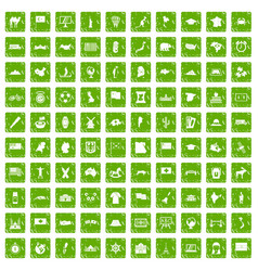 100 geography icons set grunge green vector