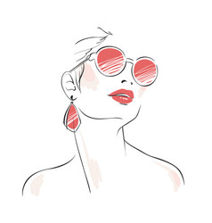 Expressive woman portrait with sunglasses vector