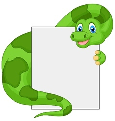 Cute dinosaur cartoon holding blank sign vector image