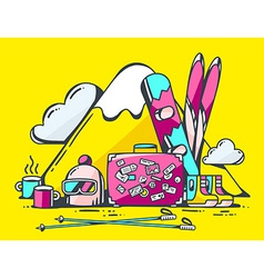 Pink suitcase and winter travel accessori vector