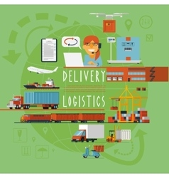 Worldwide transportation logistic concept poster vector