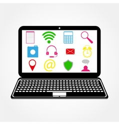 Laptop and icons vector