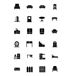 Furniture solid icons 1 vector