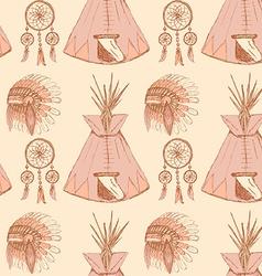 Sketch native americans symbols in vintage style vector image