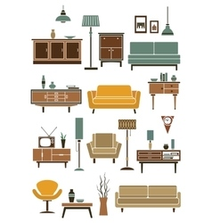 Home interior accessories and furniture vector