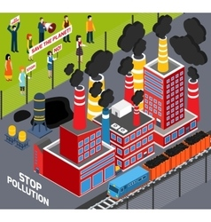 Humans against industrial pollution vector