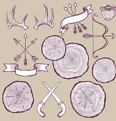 Tree rings set with bowantlers and saw vector