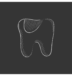 Tooth decay drawn in chalk icon vector