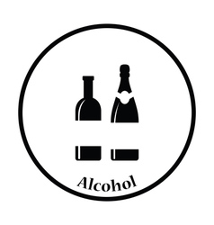 Wine and champagne bottles icon vector