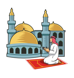 arabic men praying in front of mosque vector image vector image