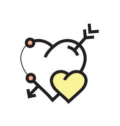 arrow on heart icon yellow vector image vector image