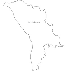 Black White Moldova Outline Map vector image vector image