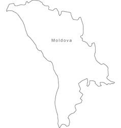 Moldova Black White Map Royalty Free Vector Image - Moldova map outline