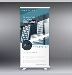 Blue abstract business standee roll up vector
