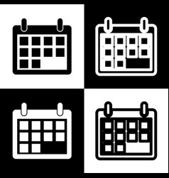 Calendar sign black and vector