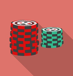 Casino chips icon Modern Flat style with a long vector image vector image