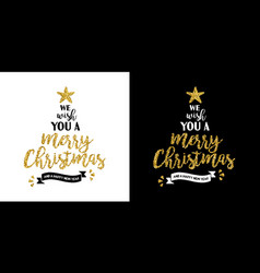 christmas gold glitter hand drawn holiday quote vector image vector image