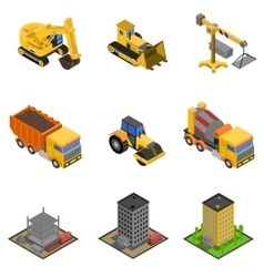 Construction Isometric Icons Set vector image vector image