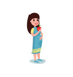 cute pregnant woman character in blue dress eating vector image