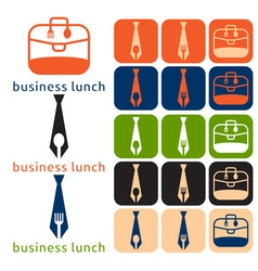 Design business lunch and icon set flat design vector