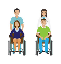 Disability people in wheelchair with a hospital vector
