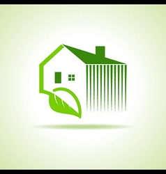 Eco home icon with leaf on white background vector image