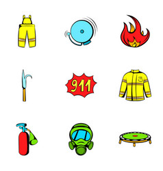 Firecloth icons set cartoon style vector