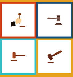 Flat icon lawyer set of defense justice legal vector