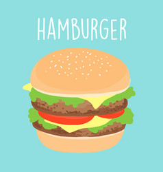 fresh cheese hamburger graphic vector image vector image