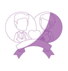isolated newlywed couple banner vector image vector image