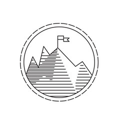 Linear mountains with flag on peak vector