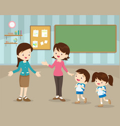mother sending children to school vector image vector image