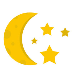 night sky with stars and moon icon isolated vector image