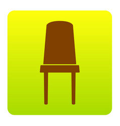 office chair sign brown icon at green vector image