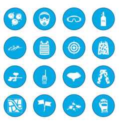Paintball game icon blue vector