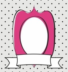 Pink frame on grey and black polka dots background vector image