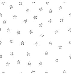 Seamless pattern with black stars on white vector