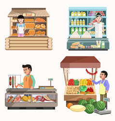 sellers in various shops colorful poster on white vector image