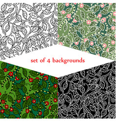 Set of backgrounds with jungle vector