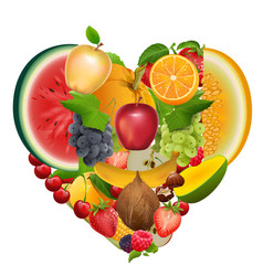 Set of fruit shape heart healthy food apple vector