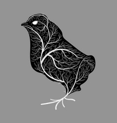 silhouette of a chick with a texture of a bush vector image