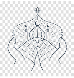 silhouette of hands praying namaz vector image